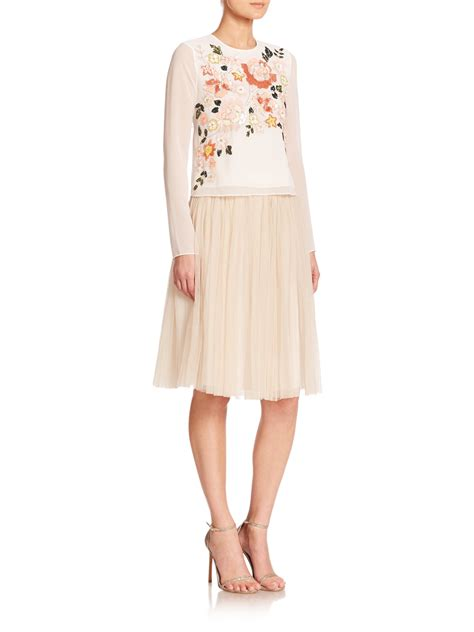 needle thread tulle midi skirt in white lyst