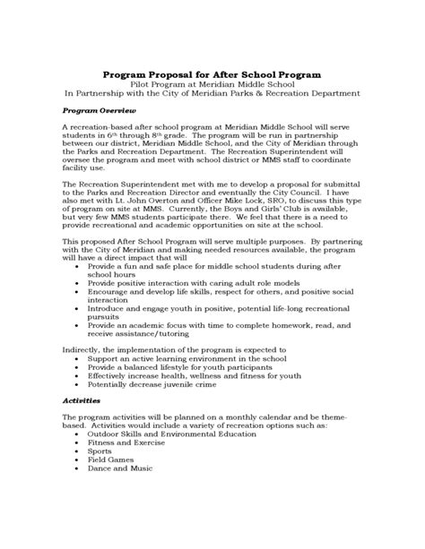 program proposal for after school program free download