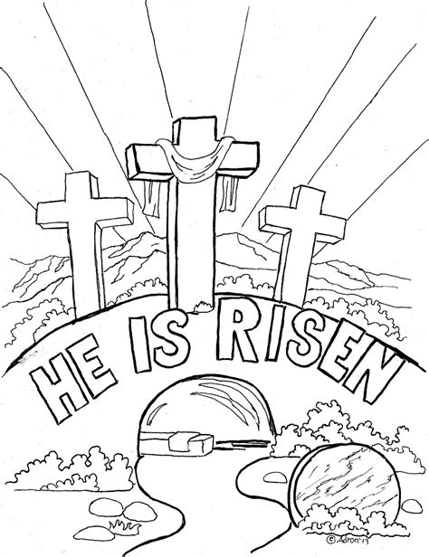 Bible Easter Coloring Pages coloring pages for by mr adron easter coloring page for quot he is risen quot
