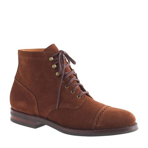 toe boots mens j crew ludlow suede cap toe boots in brown for rich