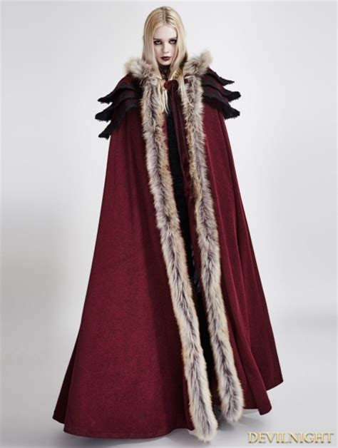 Red Gothic Woolllar Long Cloak For Women Devilnight Uk