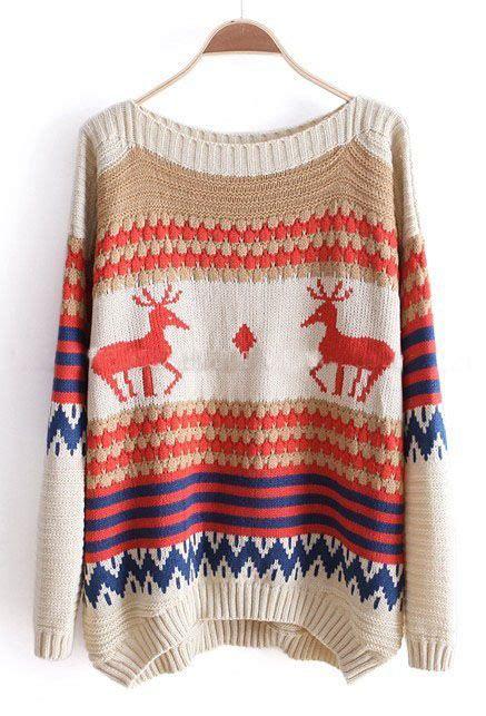 boat neck christmas jumper beige and khaki striped deer boat neck sweater gt gt fun