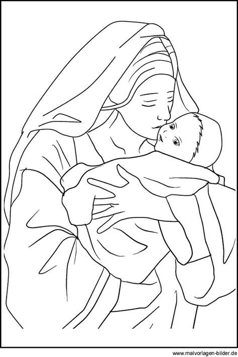maria und das jesuskind weihnachtsbild und malvorlage