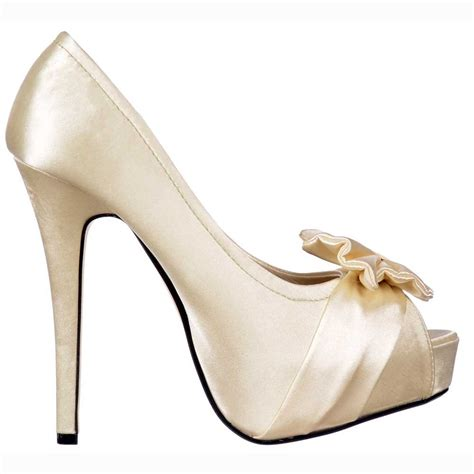 Satin Shoes by Shoekandi Bridal Peep Toe Wedding Shoes Satin Bow