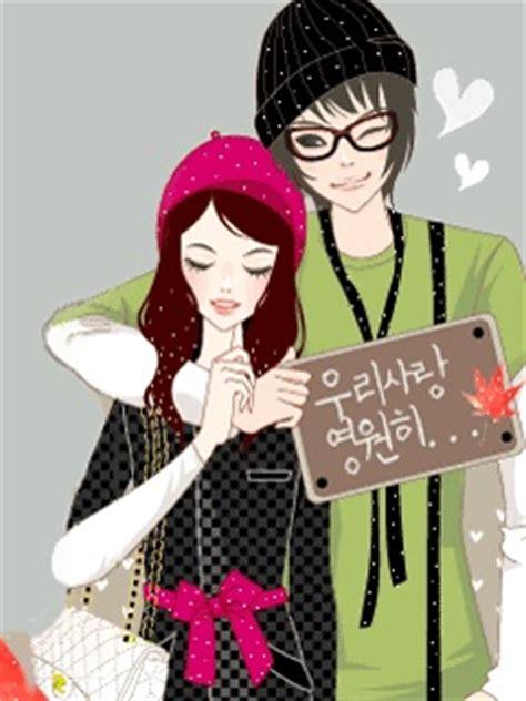 wallpaper animasi couple download korean couple 240 x 320 wallpapers 2786561