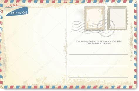 postage st template vector tarjeta postal estilo correo aire vector de stock