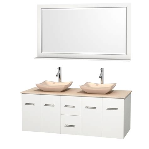 58 bathroom vanity double sink wyndham collection wcvw00960dwhivgs2m58 centra 60 inch