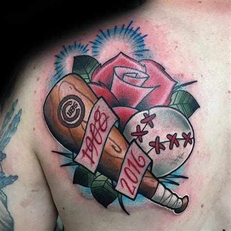 baseball rose tattoo 80 chicago cubs designs for baseball ideas