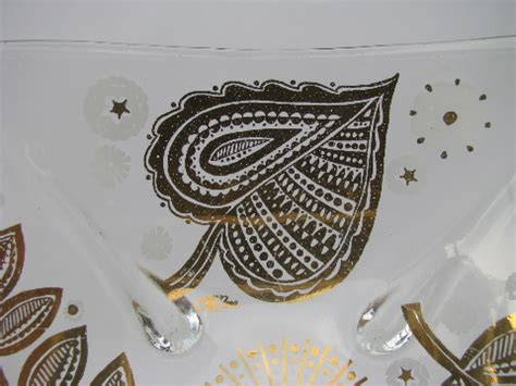 vintage barware cora signed gold decorated glass retro vintage barware dishes nut bowls