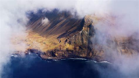 wallpaper clouds faroe islands  nature