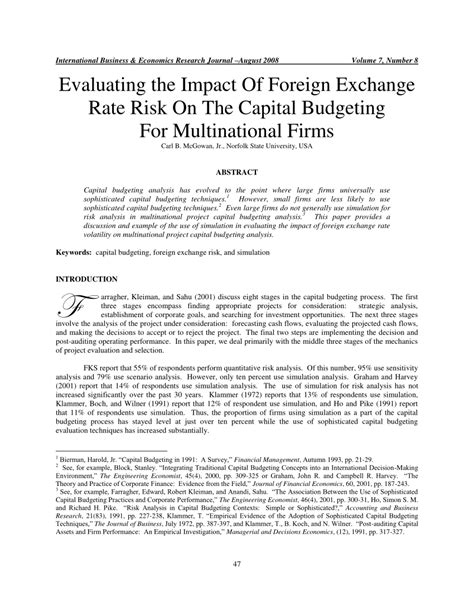 Foreign Exchange Risk Management Mba Project by Evaluating The Impact Of Foreign Exchange Pdf