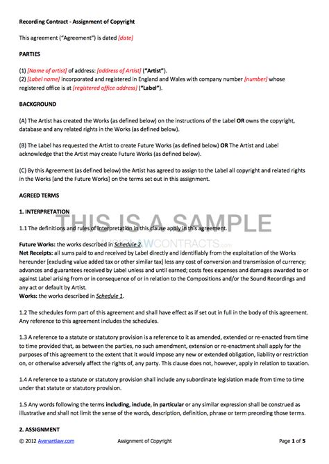 Non Exclusive Recording Contract Template Recording Contract Template