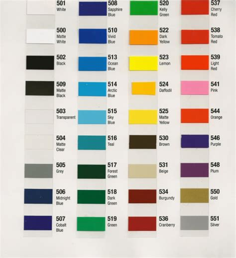 vinyl color chart devinyl designs