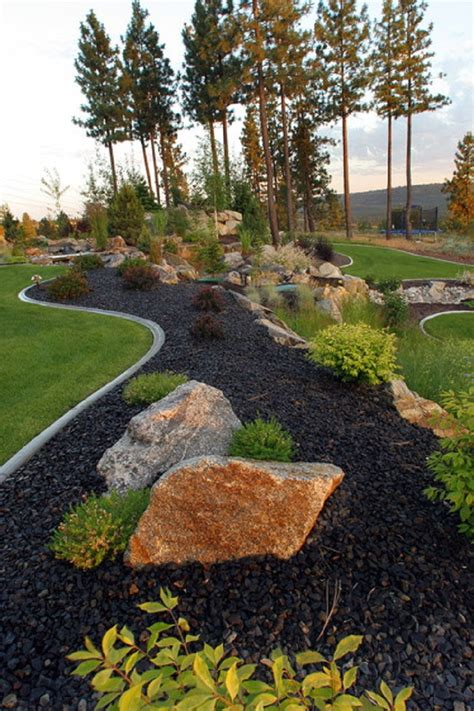 black rock garden patio landscape ideas landscaping