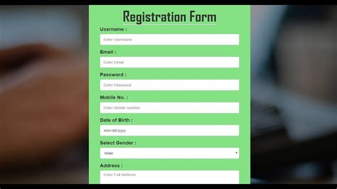 design form html5 css3 bootstrap registration form in hindi how to create