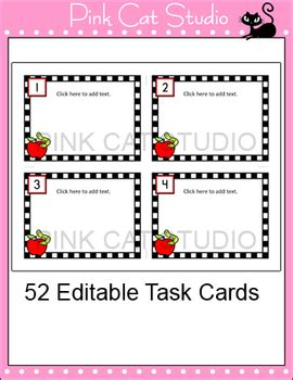 editable task card templates editable task cards template apple theme by pink cat