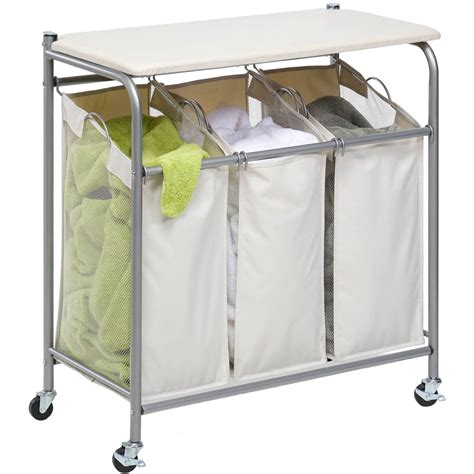 laundry sorter with ironing board in laundry carts