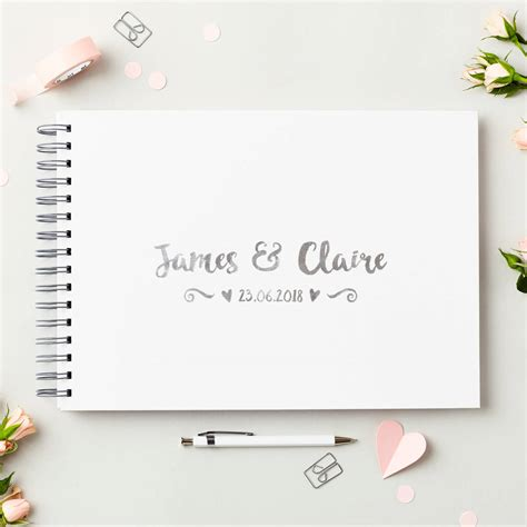 Wedding Guest Book Cover Page by Personalised Names Wedding Guest Book By Martha Brook