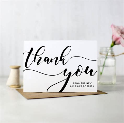 4 Simple Wedding Thank You Card Templates by Pack Of 10 Personalised Wedding Thank You Cards By Here S