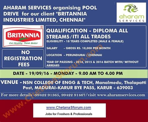 Government For Mba Freshers In Tamilnadu by Freshers Britannia Industries Cus 2014