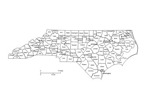nc map with cities carolina counties major cities powerpoint map