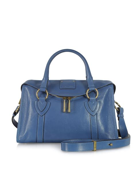 Marc Small Bag by Marc Small Fulton Denim Blue Leather Satchel Bag
