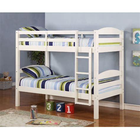 Walker Edison Solid Wood Twin Size Bunk Bed White Bwstotwh White Bunk Bed