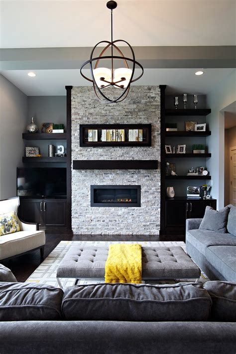 Tone On Tone Upholstery Fabric Floating Shelves Next To Fireplace Living Room Beach Style