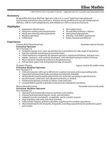 Extruder Operator Cover Letter by Extrusion Operator Resume Exles Production Resume