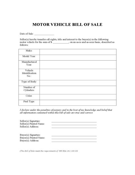 Motor Vehicle Bill Of Sale Form New Hshire Free Download Nh Boat Bill Of Sale Template