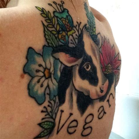 cow tattoo my vegan vegan cow flowers plants