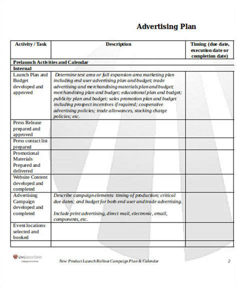 advertising plan template 6 advertising plan sles templates sle templates