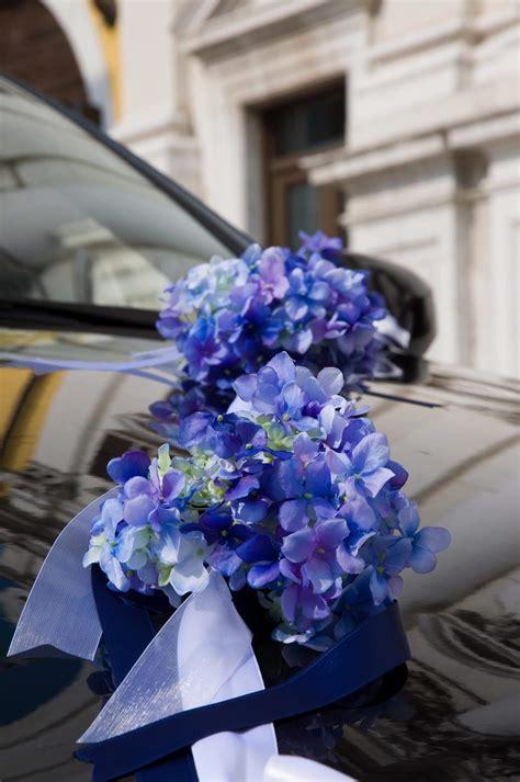 autoschmuck hochzeit modern autodeko in blau mit hortensie gro 223 e bildergalerie