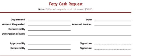 petty cash request slip office templates