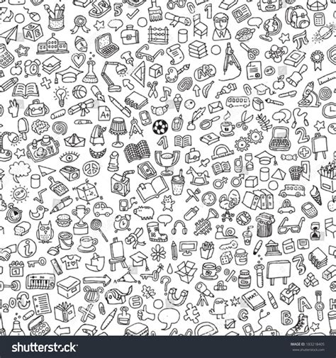 doodle pattern school school seamless pattern black white repeated stock vector
