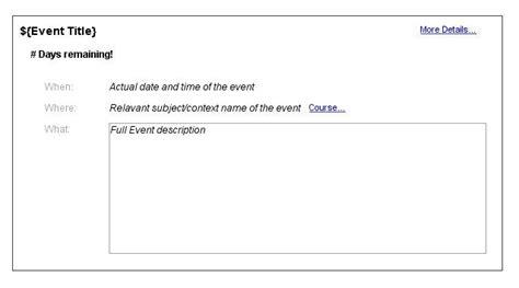format message html email reminders for calendar events moodledocs