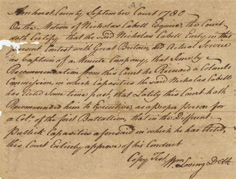 Amherst Court Records Documents Relating To The Career Of Col Nicholas Cabell Albert And Shirley