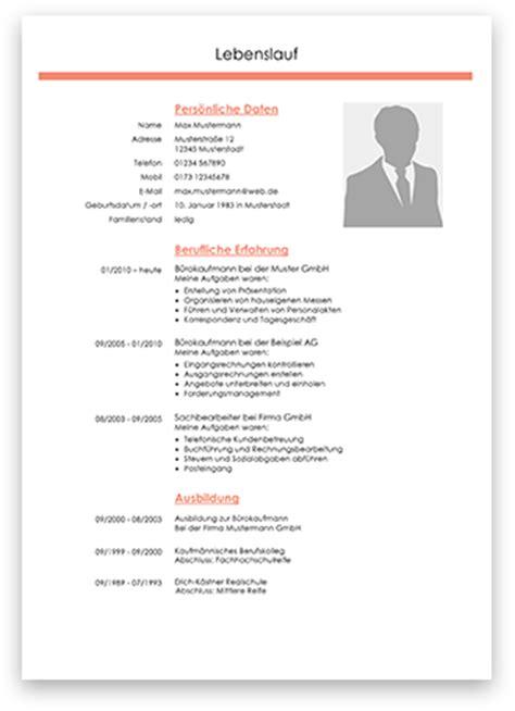 Lebenslauf Vorlage Zum Bearbeiten Professionelle Lebenslauf Muster Und Vorlagen 2017