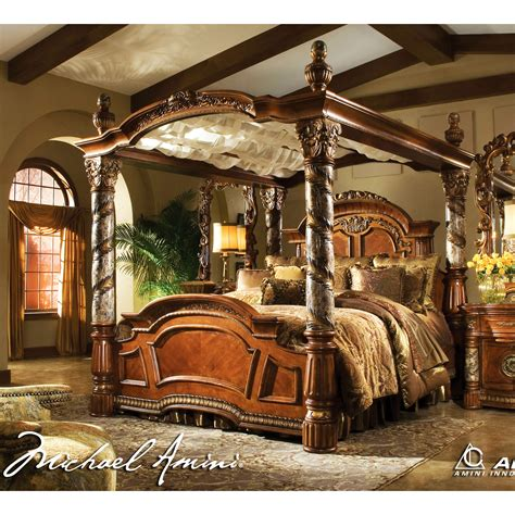 king canopy bedroom sets california king canopy bed michael amini 5pc villa valencia california king size