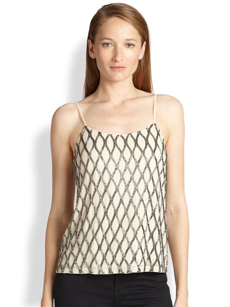 beaded cami top beaded silk camisole top in silver