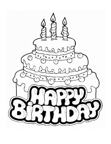 Printable Happy Birthday Coloring Pages Coloring Me Happy Birthday Coloring Pages For