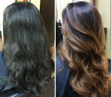 dark hair after 70 balayage ombr 233 before after dark hair brunette hair