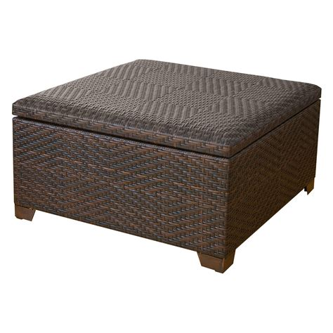 Patio Storage Ottoman Wicker Brown Indoor Outdoor Storage Ottoman Ottomans At Hayneedle