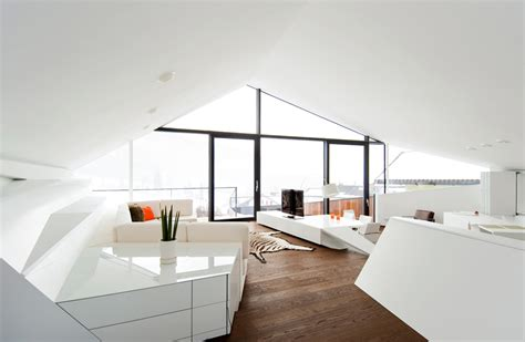 futuristic house interior slope roof house with futuristic interiors
