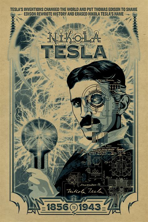 Nikola Tesla Poster Nikola Tesla Poster 12x18 Inventor Edison
