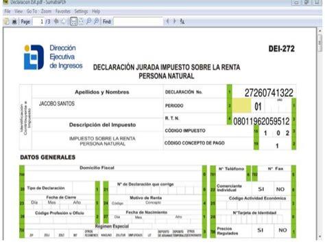 dei gov hn declaracion jurdada impuesto sobre la renta ley de impuesto sobre la renta en honduras