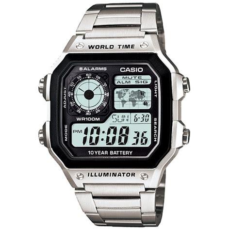 casio world time orologio da uomo argento ae 1200whd