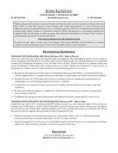 Transaction Manager Sle Resume by Exle Transaction Manager Resume Free Sle