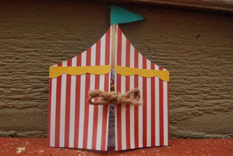 Origami Circus Tent - circus or carnival tent paper invitation by