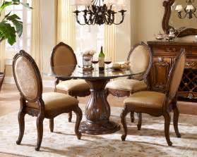 aico lavelle melange round glass top dining set ai 54001set